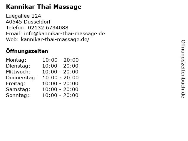 Kannikar Thai Massage in Düsseldorf: Adresse und Öffnungszeiten