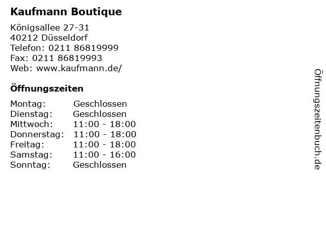 Kaufmann Boutique in Düsseldorf: Adresse und Öffnungszeiten