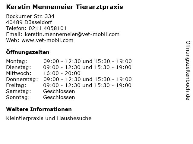 Tierarztpraxis - mobile - Kerstin Mennemeier in Düsseldorf: Adresse und Öffnungszeiten
