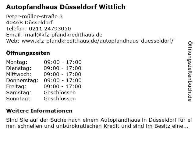 Kfz-Pfandkredithaus Wittlich in Düsseldorf: Adresse und Öffnungszeiten