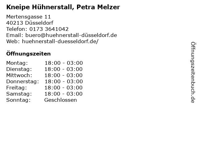 Kneipe Hühnerstall, Petra Melzer in Düsseldorf: Adresse und Öffnungszeiten