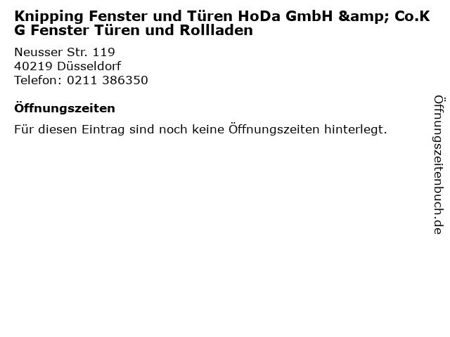 Knipping Fenster und Türen HoDa GmbH & Co.KG Fenster Türen und Rollladen in Düsseldorf: Adresse und Öffnungszeiten