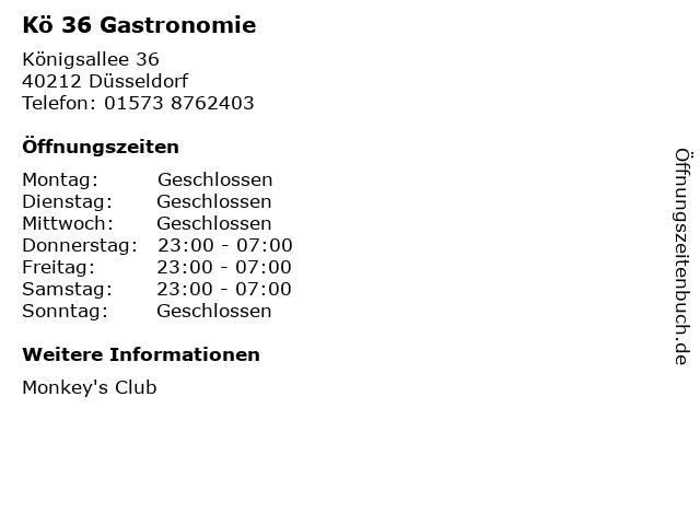 Kö 36 Gastronomie in Düsseldorf: Adresse und Öffnungszeiten