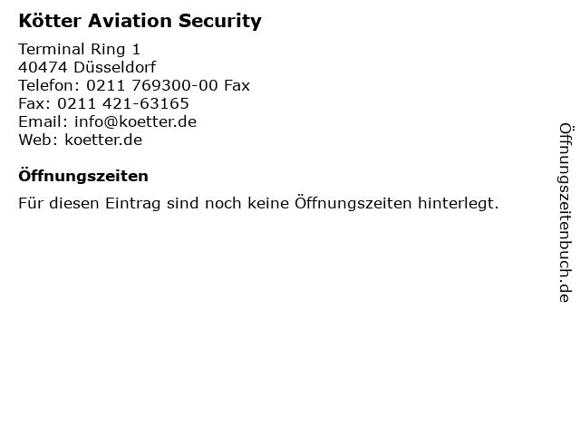 Kötter Aviation Security in Düsseldorf: Adresse und Öffnungszeiten