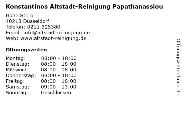 Konstantinos Altstadt-Reinigung Papathanassiou in Düsseldorf: Adresse und Öffnungszeiten
