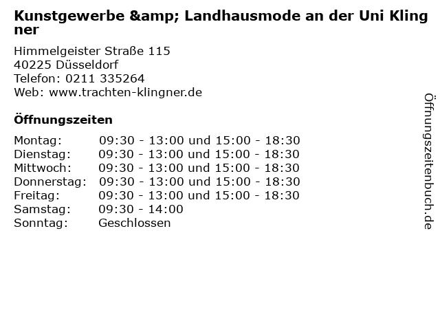 Kunstgewerbe & Landhausmode an der Uni Klingner in Düsseldorf: Adresse und Öffnungszeiten