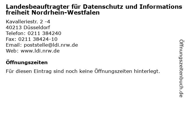 Landesbeauftragter für Datenschutz und Informationsfreiheit Nordrhein-Westfalen in Düsseldorf: Adresse und Öffnungszeiten