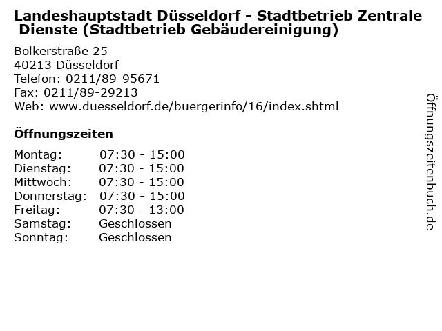 Landeshauptstadt Düsseldorf - Stadtbetrieb Zentrale Dienste (Stadtbetrieb Gebäudereinigung) in Düsseldorf: Adresse und Öffnungszeiten