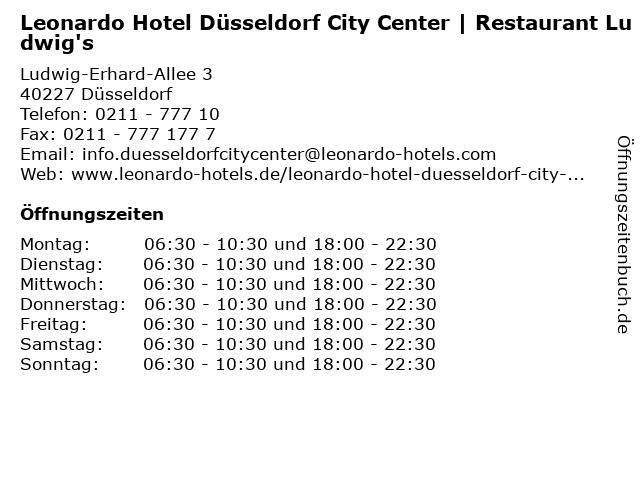 Leonardo Hotel Düsseldorf City Center   Restaurant Ludwig's in Düsseldorf: Adresse und Öffnungszeiten
