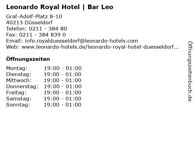 Leonardo Royal Hotel | Bar Leo in Düsseldorf: Adresse und Öffnungszeiten