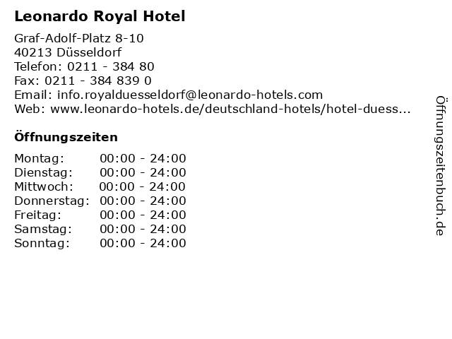 Leonardo Royal Hotel in Düsseldorf: Adresse und Öffnungszeiten