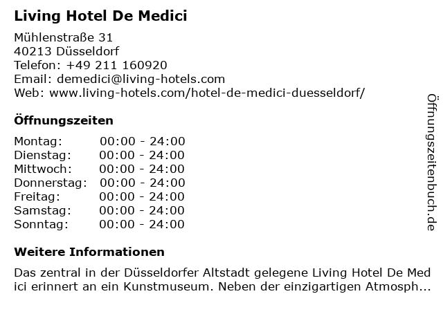 Living Hotel De Medici in Düsseldorf: Adresse und Öffnungszeiten