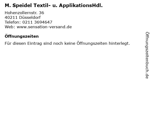 M. Speidel Textil- u. ApplikationsHdl. in Düsseldorf: Adresse und Öffnungszeiten