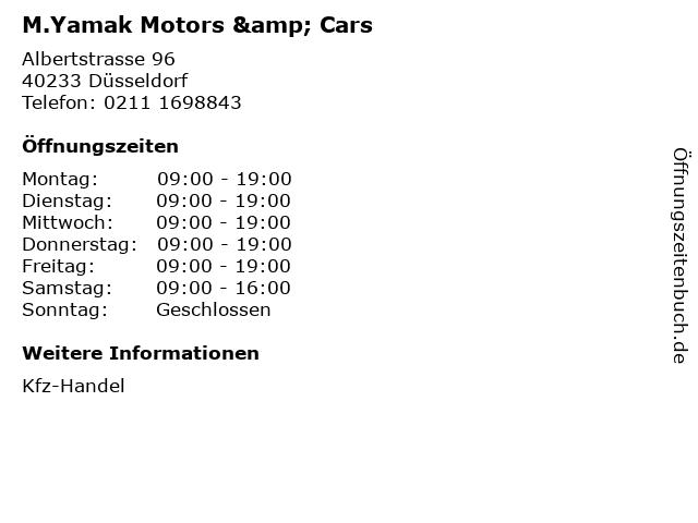 M.Yamak Motors & Cars in Düsseldorf: Adresse und Öffnungszeiten