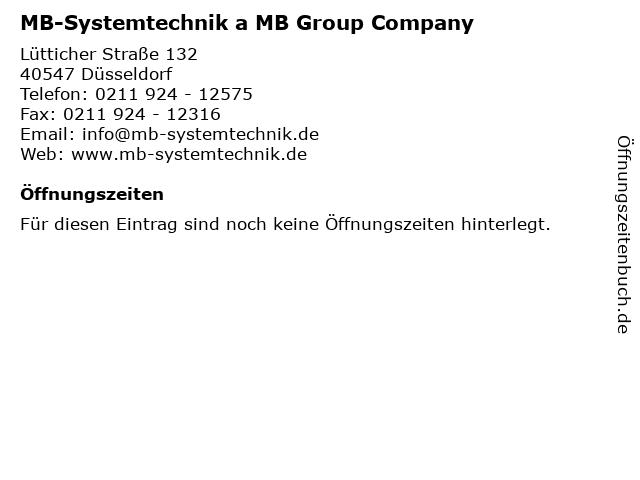 MB-Systemtechnik a MB Group Company in Düsseldorf: Adresse und Öffnungszeiten