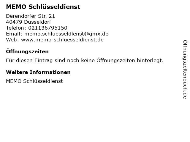MEMO Schlüsseldienst in Düsseldorf: Adresse und Öffnungszeiten