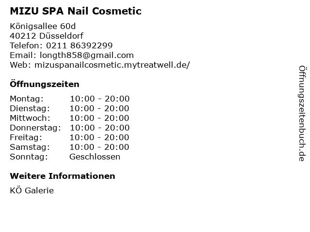 MIZU SPA Nail Cosmetic in Düsseldorf: Adresse und Öffnungszeiten