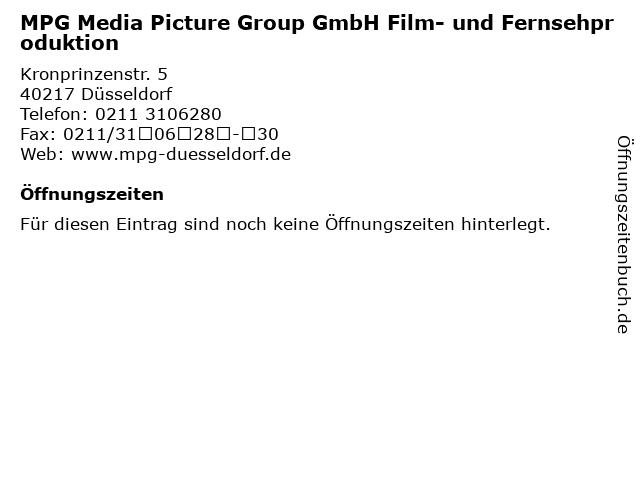 MPG Media Picture Group GmbH Film- und Fernsehproduktion in Düsseldorf: Adresse und Öffnungszeiten