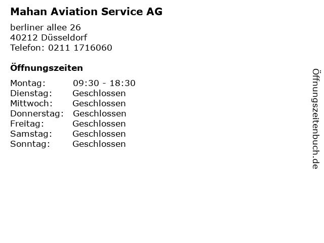 Mahan Aviation Service AG in Düsseldorf: Adresse und Öffnungszeiten