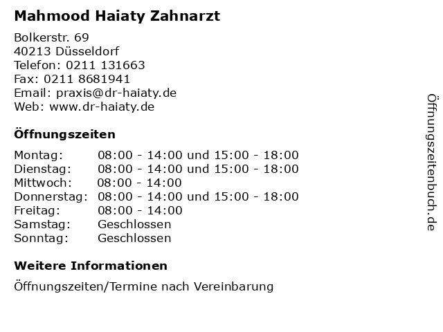 Mahmood Haiaty Zahnarzt in Düsseldorf: Adresse und Öffnungszeiten