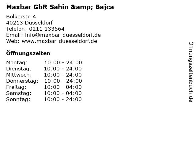 Maxbar GbR Sahin & Bajca in Düsseldorf: Adresse und Öffnungszeiten