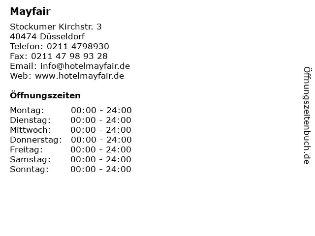 Mayfair in Düsseldorf: Adresse und Öffnungszeiten