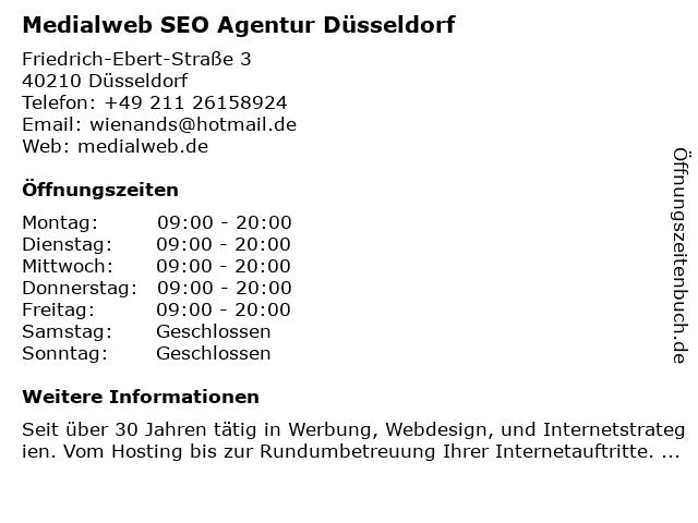 Medialweb SEO Agentur Düsseldorf in Düsseldorf: Adresse und Öffnungszeiten