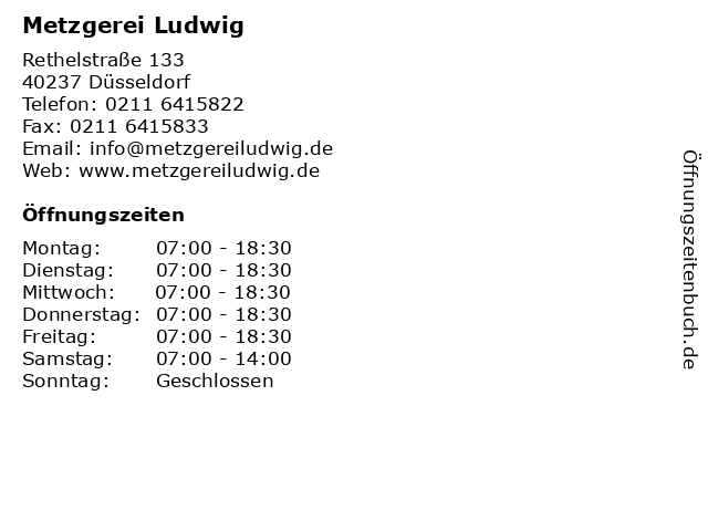 Metzgerei Ludwig in Düsseldorf: Adresse und Öffnungszeiten