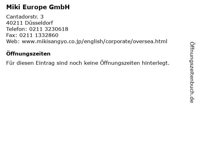 Miki Europe GmbH in Düsseldorf: Adresse und Öffnungszeiten