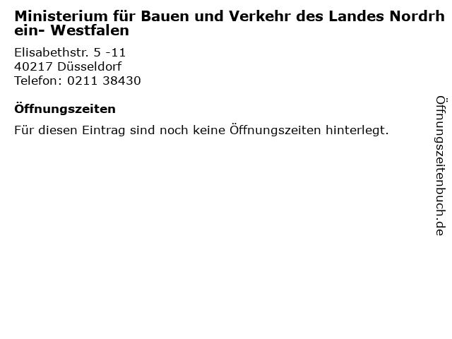 Ministerium für Bauen und Verkehr des Landes Nordrhein- Westfalen in Düsseldorf: Adresse und Öffnungszeiten
