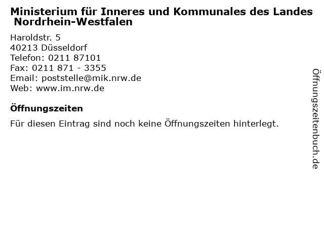 Ministerium für Inneres und Kommunales des Landes Nordrhein-Westfalen in Düsseldorf: Adresse und Öffnungszeiten