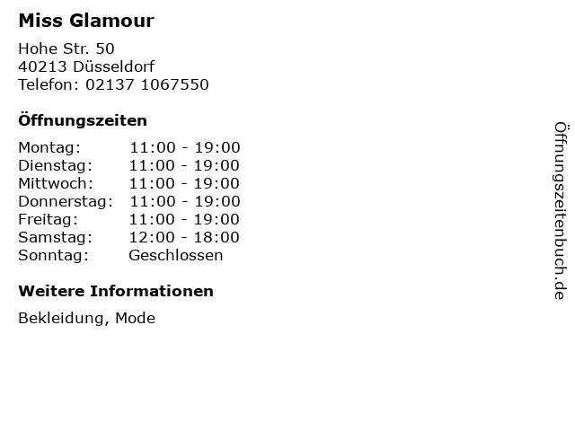Miss Glamour in Düsseldorf: Adresse und Öffnungszeiten