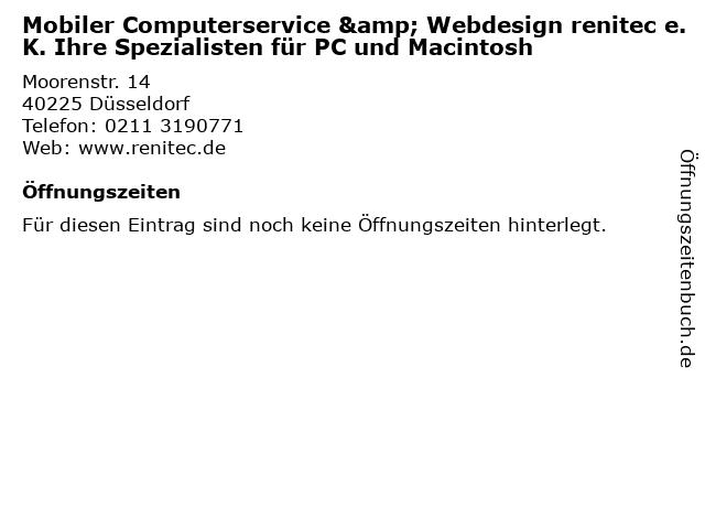 Mobiler Computerservice & Webdesign renitec e.K. Ihre Spezialisten für PC und Macintosh in Düsseldorf: Adresse und Öffnungszeiten