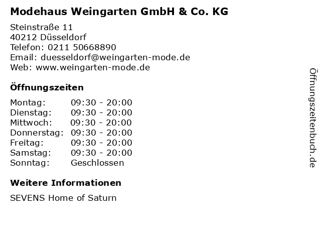 Modehaus Weingarten GmbH & Co. KG in Düsseldorf: Adresse und Öffnungszeiten