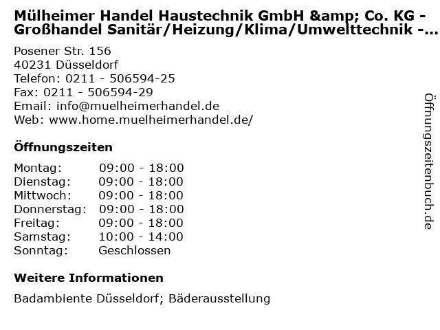 Mülheimer Handel Haustechnik GmbH & Co. KG - Großhandel Sanitär/Heizung/Klima/Umwelttechnik - Badambiente in Düsseldorf: Adresse und Öffnungszeiten