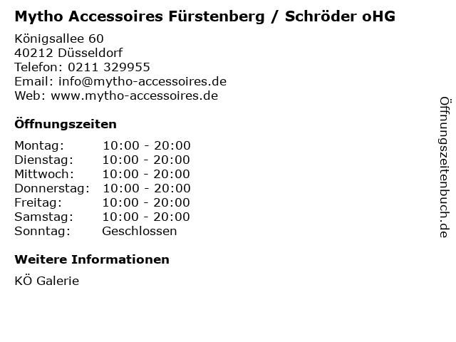 Mytho Accessoires Fürstenberg / Schröder oHG in Düsseldorf: Adresse und Öffnungszeiten
