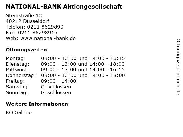 NATIONAL-BANK Aktiengesellschaft in Düsseldorf: Adresse und Öffnungszeiten