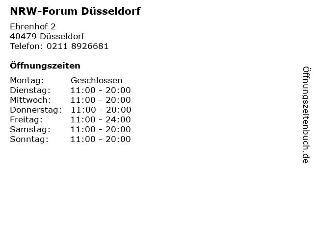 NRW-Forum Düsseldorf in Düsseldorf: Adresse und Öffnungszeiten