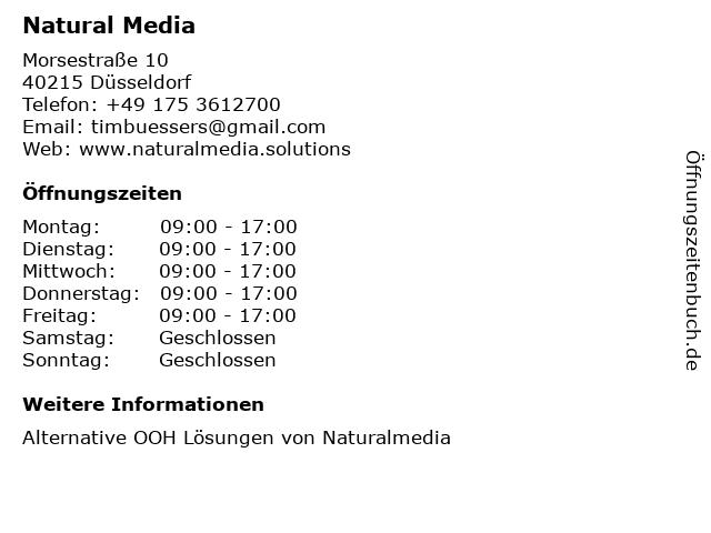 Natural Media in Düsseldorf: Adresse und Öffnungszeiten