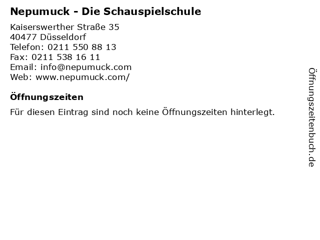 Nepumuck - Die Schauspielschule in Düsseldorf: Adresse und Öffnungszeiten