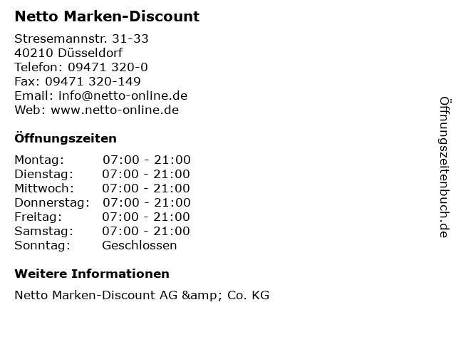 Netto Marken-Discount in Düsseldorf: Adresse und Öffnungszeiten