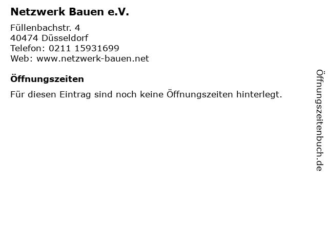 Netzwerk Bauen e.V. in Düsseldorf: Adresse und Öffnungszeiten