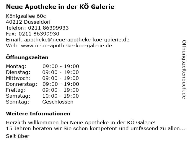 Neue Apotheke in der Kö-Galerie in Düsseldorf: Adresse und Öffnungszeiten