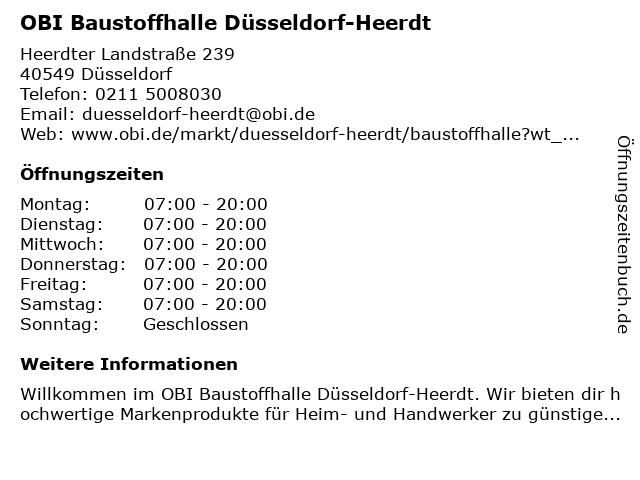OBI Baustoffhalle Düsseldorf-Heerdt in Düsseldorf: Adresse und Öffnungszeiten