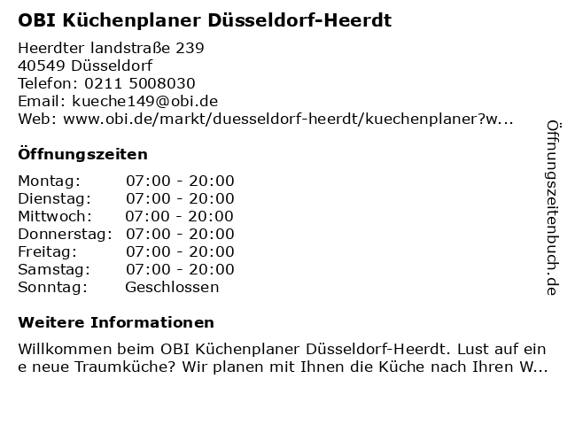 OBI Küchenplaner Düsseldorf-Heerdt in Düsseldorf: Adresse und Öffnungszeiten
