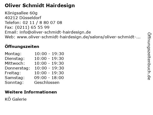 Oliver Schmidt Hairdesign in Düsseldorf: Adresse und Öffnungszeiten