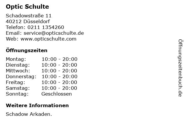 Optic Schulte in Düsseldorf: Adresse und Öffnungszeiten