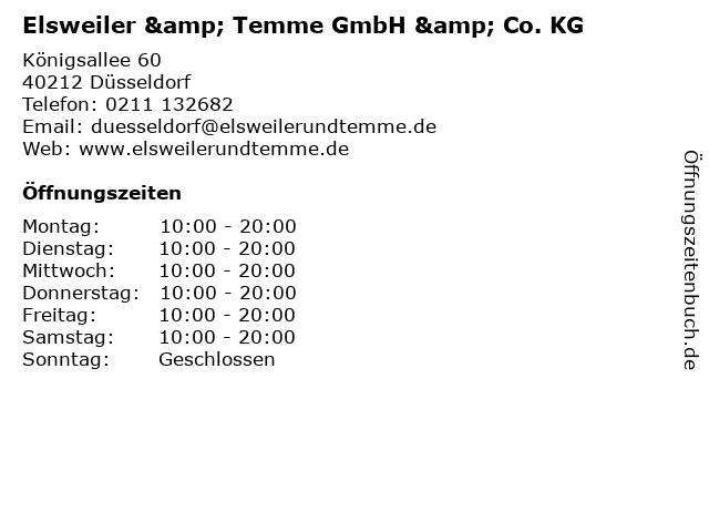 Optik Elsweiler & Temme GmbH & Co. KG in Düsseldorf: Adresse und Öffnungszeiten