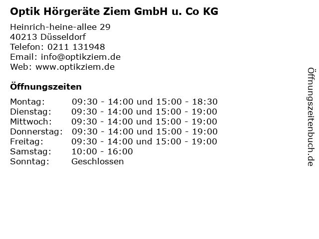 Optik Hörgeräte Ziem GmbH u. Co KG in Düsseldorf: Adresse und Öffnungszeiten