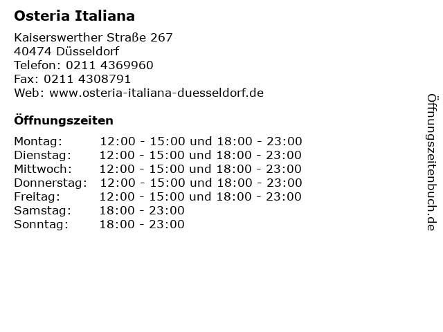 Osteria Italiana in Düsseldorf: Adresse und Öffnungszeiten